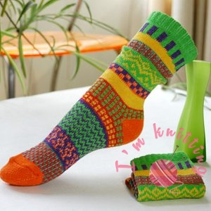 Chinese Ethical Wind Colorful Knitted Sock
