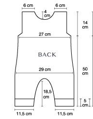 Romper knitting pattern back chart |Chart 1