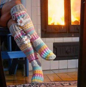 Knit knee high sock