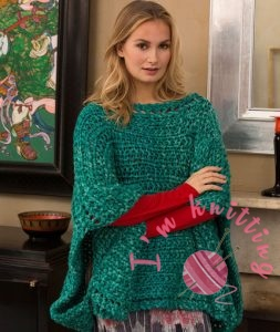 Shimmering Jade Knit Poncho by Cathy Payson