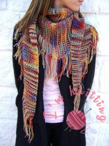 Colorful Knitted Scarf Pattern for woman