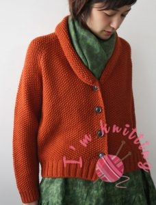 Short cut orange cardigan