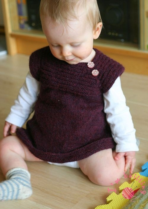 Burgundy color knitted baby dress