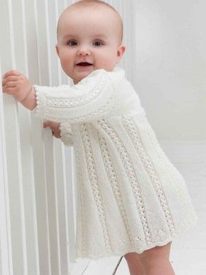 White knitted baby dress