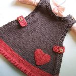 Great knitted baby dress with heart pattern