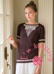 Brown and white knit Blouse Pattern
