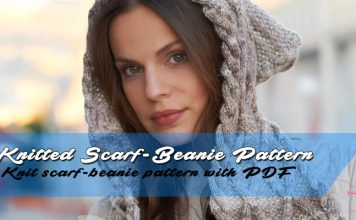 Knitted integrated Scarf-beanie pattern