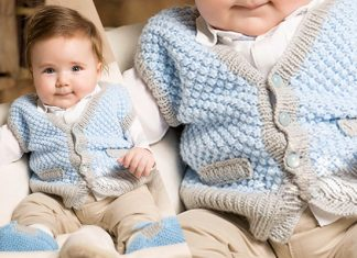 Free Knitted Vest and Botie Pattern for baby boy
