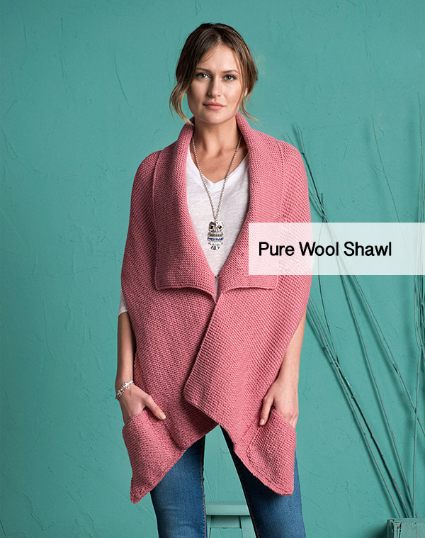 pure wool shawl with pocket