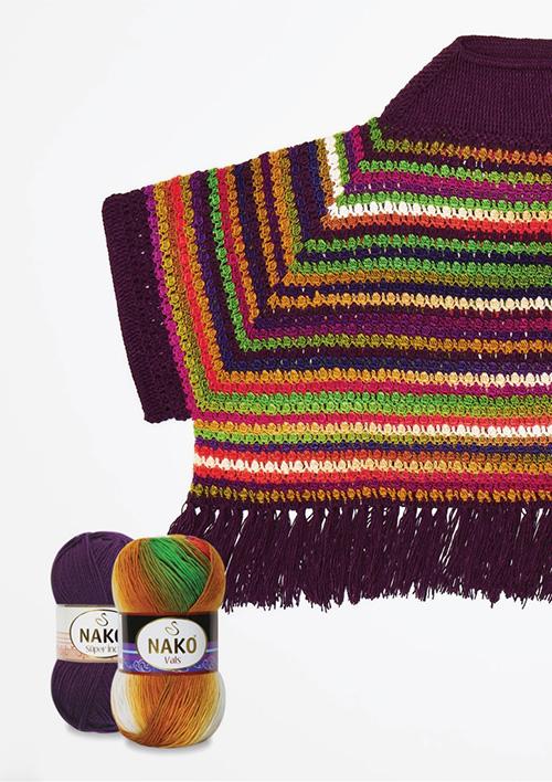 Left Back Piece Design for Women's Crochet Poncho Pattern