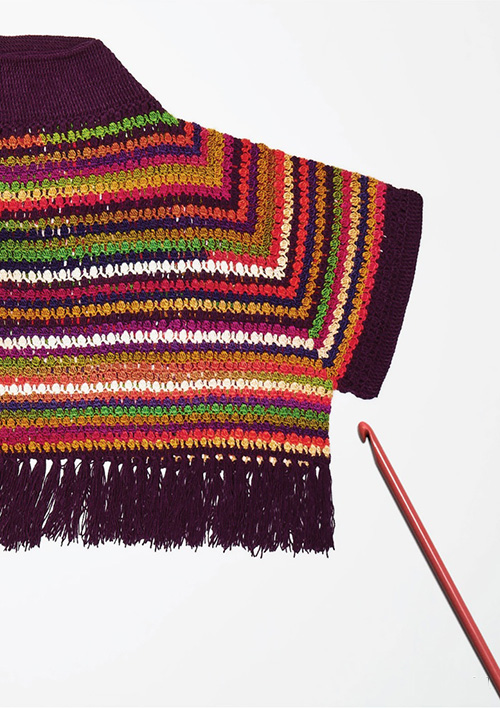 Right Back Piece Design for Women's Crochet Poncho Pattern