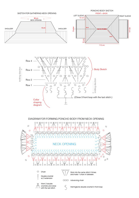 Charts For Crochet Poncho Pattern