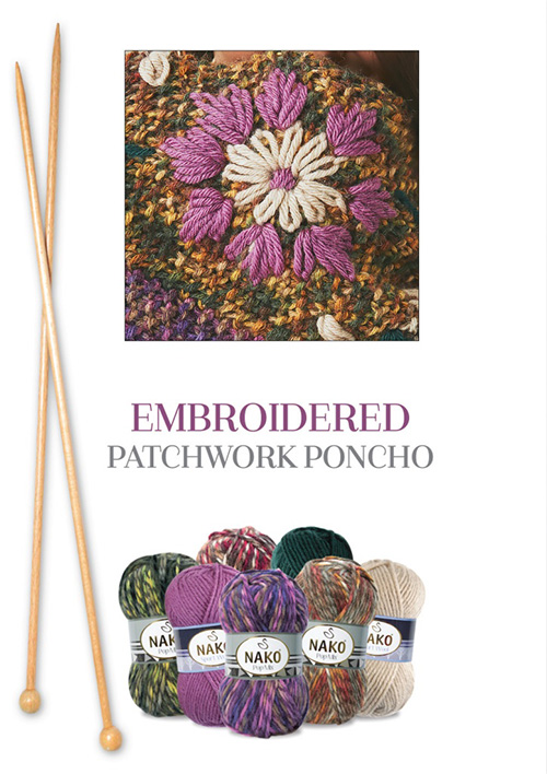 Needle, yarns for embroidered patchwork poncho