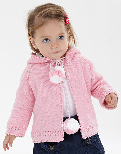 Easy Hooded Cardigan For Girls (0-3 year old)