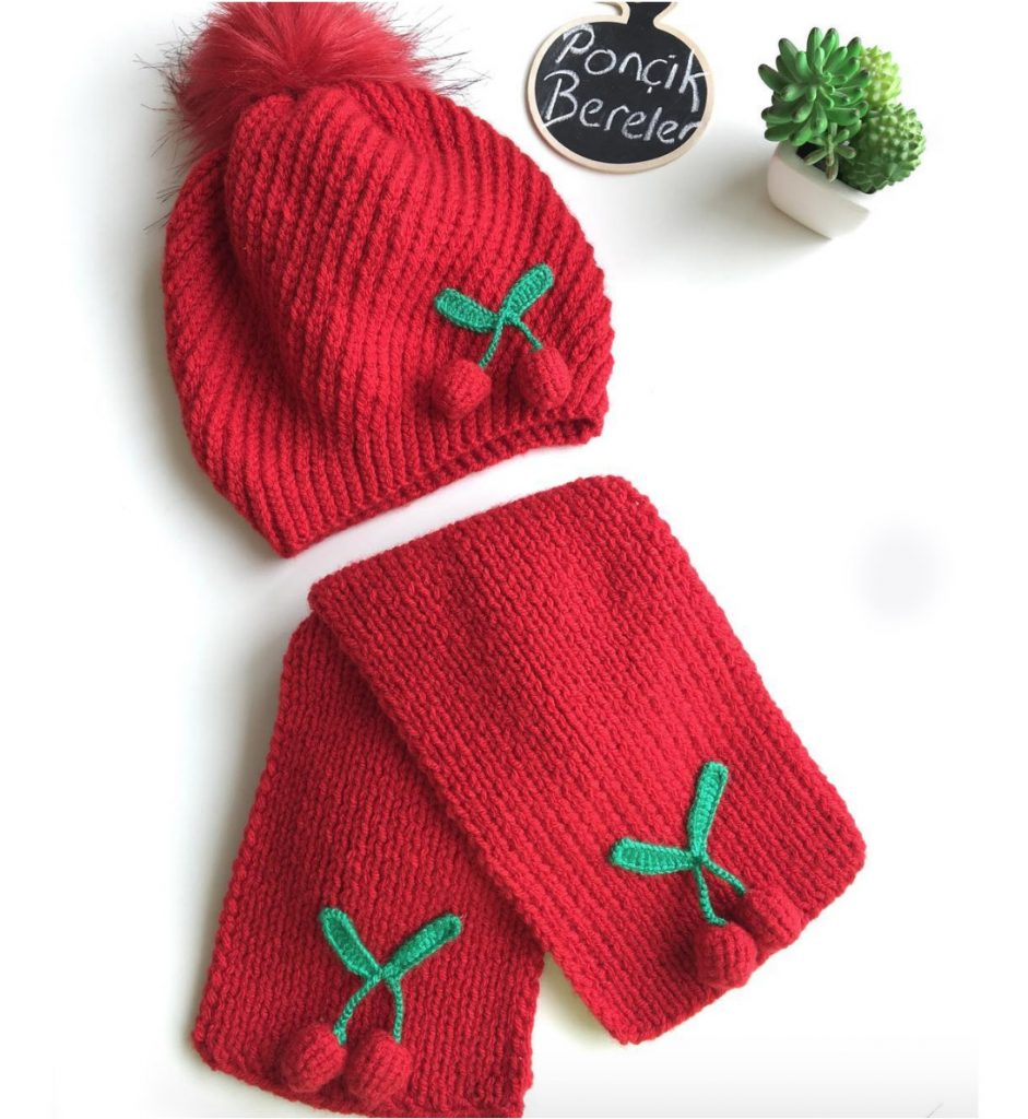 Knitted hat and scarf with cherry motif