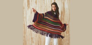 Tasseled chunky crochet poncho pattern for women