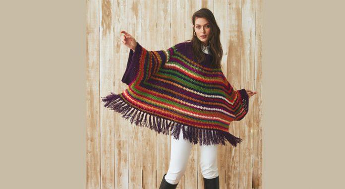 Tasseled chunky crochet poncho pattern for women