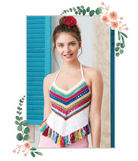 A stylish crochet top with rainbow lines