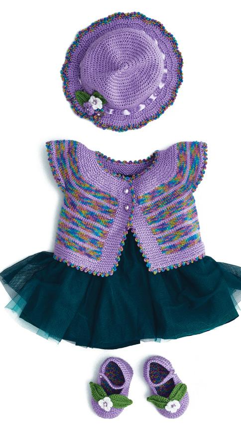 A wonderful knitting set of hats, vest and mini shoes.