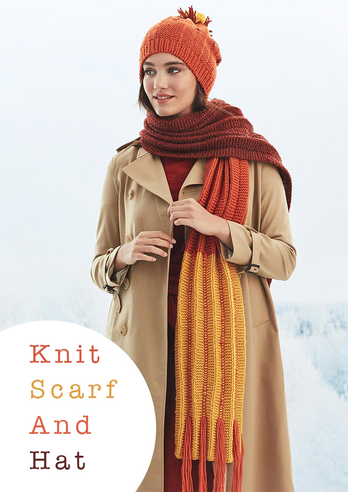 Women's Knit Scarf and Hat Free Pattern