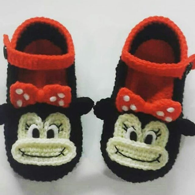 I think all the kids like Mickey Mouse. A pretty cute knitted baby booties.