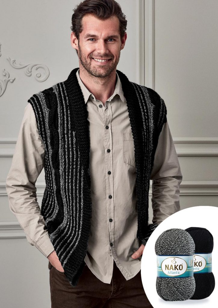 Cable Knit Sleveless Cardigan For Men