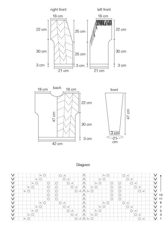 Chart for tasseled cardigan knitting pattern