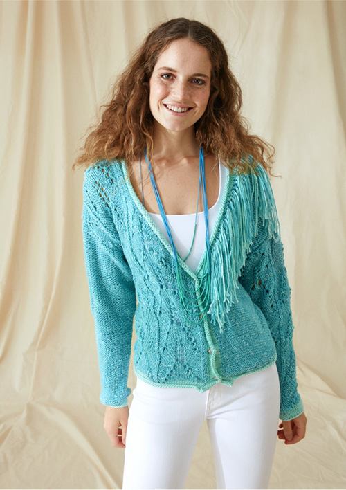 Fron view of tasseled cardigan for women