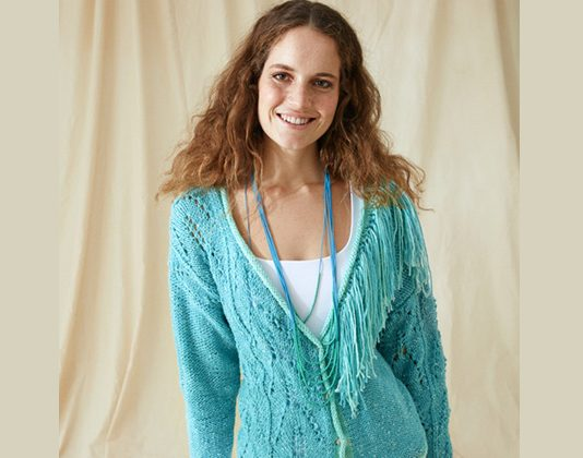 Tasseled cardigan knitting pattern