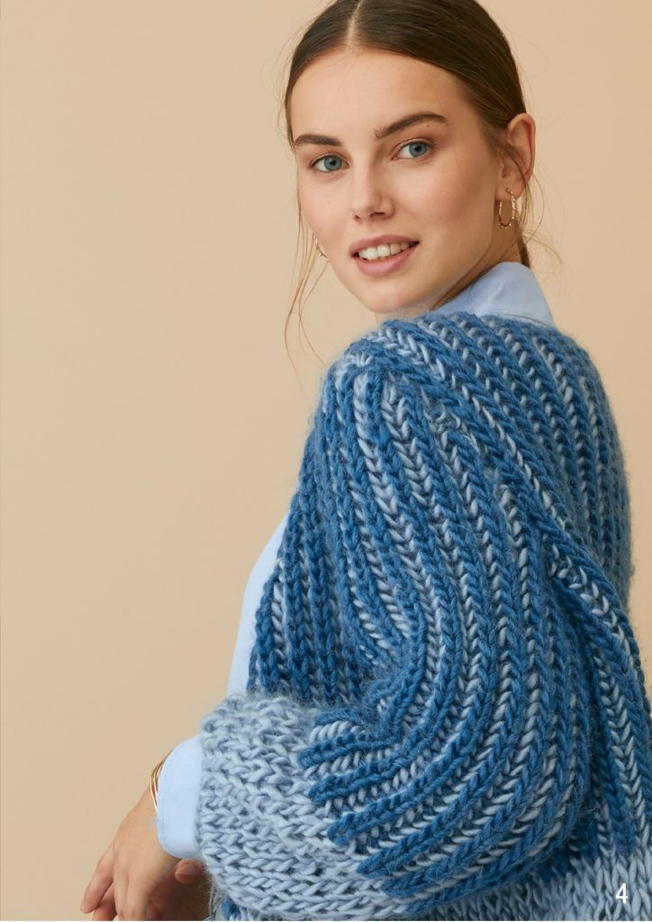 Hooded knitted women's cardigan